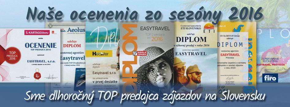 Top ocenenia Dovolenka365.sk z roku 2016